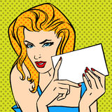 Girl with  letter Pop art angry vintage comic Royalty Free Stock Photography