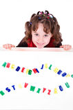 Girl with letters Royalty Free Stock Image