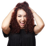 Girl letting out scream of joy Royalty Free Stock Photography