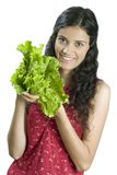 Girl with lettuce Royalty Free Stock Image