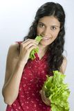 Girl with lettuce royalty free stock photo