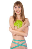 Girl with lettuce and tape measure isolated Stock Image