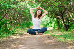 Girl levitate Stock Photo