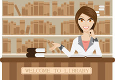 Girl librarian. Illustration of female librarian in library. Contain gradient mesh stock illustration