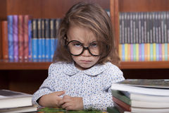 Girl in library stock image
