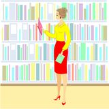 The girl in the library. A nice woman is looking at books for a lesson. Next shelf of the cabinet with books. Vector illustration.  stock illustration