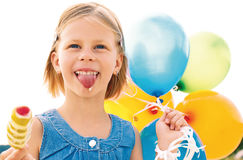 Girl licking ice cream Royalty Free Stock Image
