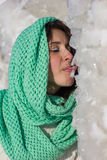 Girl licking ice Royalty Free Stock Photo