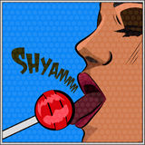 Girl licking sphere lollipop.Vector illustration Royalty Free Stock Photos