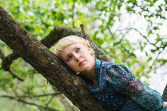 Girl lies on a branch Stock Photography