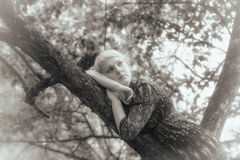 Girl lies on a branch Royalty Free Stock Photography