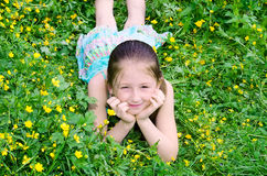 The girl lies on a glade Royalty Free Stock Photography