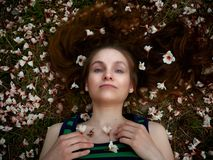 The girl lies on the grass, covered with white flowers royalty free stock images