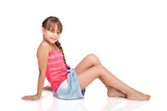 Girl Lies On A Floor Royalty Free Stock Photography