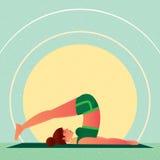 Girl lies in Yoga Plow Pose or Halasana Royalty Free Stock Photography