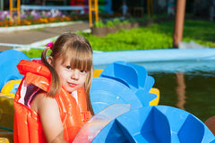 Girl in a life jacket Royalty Free Stock Photography