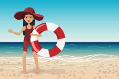 Girl with lifebuoy on the beach, vector illustration Royalty Free Stock Photos