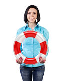 Girl with a lifebuoy Royalty Free Stock Images