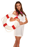 Girl with lifebuoy. On white background Stock Photography