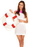 Girl with lifebuoy Stock Image