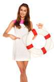 Girl with lifebuoy Royalty Free Stock Photography