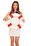 Girl with lifebuoy Royalty Free Stock Image
