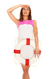 Girl with lifebuoy Royalty Free Stock Images