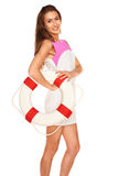 Girl with lifebuoy Stock Photography