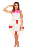 Girl with lifebuoy Stock Images