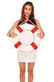 Girl with lifebuoy Stock Photos