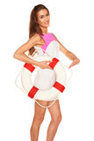 Girl with lifebuoy Royalty Free Stock Photos