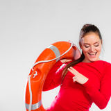 Girl lifeguard with rescue equipment Stock Photos