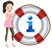 Girl and lifesaver floating Stock Image