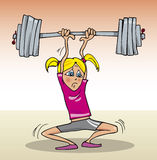 Girl lift heavyweight Royalty Free Stock Photography