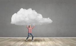 Girl lifting cloud Royalty Free Stock Photos