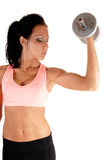 Girl lifting dumbbells. Royalty Free Stock Images
