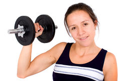 Girl lifting freeweights Stock Photography