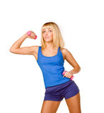 Girl Lifting Weights Stock Photography