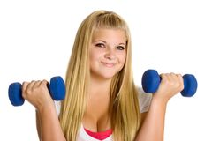 Girl Lifting Weights Stock Photos