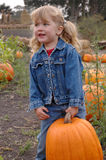 Girl lifts pumpkin Stock Images
