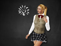 Girl with light bulb on blackboard Stock Photos