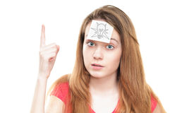 Girl with light bulb on paper on her forehead. Stock Photography