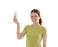 Girl with light bulbs Royalty Free Stock Photos