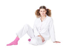 Girl in a light pajamas Stock Photography