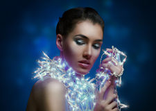 Girl in the lights Royalty Free Stock Image