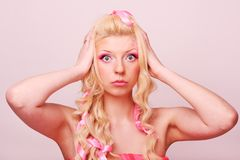 Girl like a doll Royalty Free Stock Image