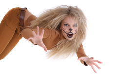 Girl like a lion Royalty Free Stock Photo