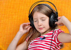 Girl like Music  headphones Stock Photo