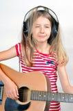 Girl like Music  headphones Stock Photo