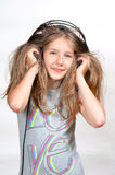 Girl like Music  headphones Royalty Free Stock Image